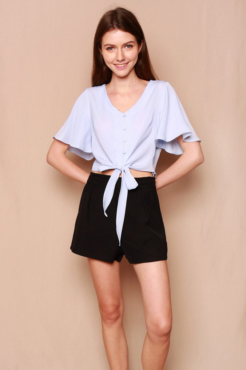 Mishenka Front-Tie Top Powder Blue