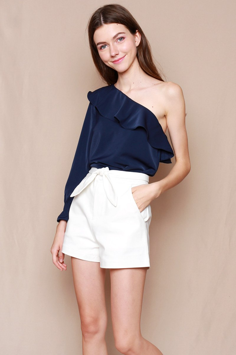 Alvira Ruffle Toga Top Midnight