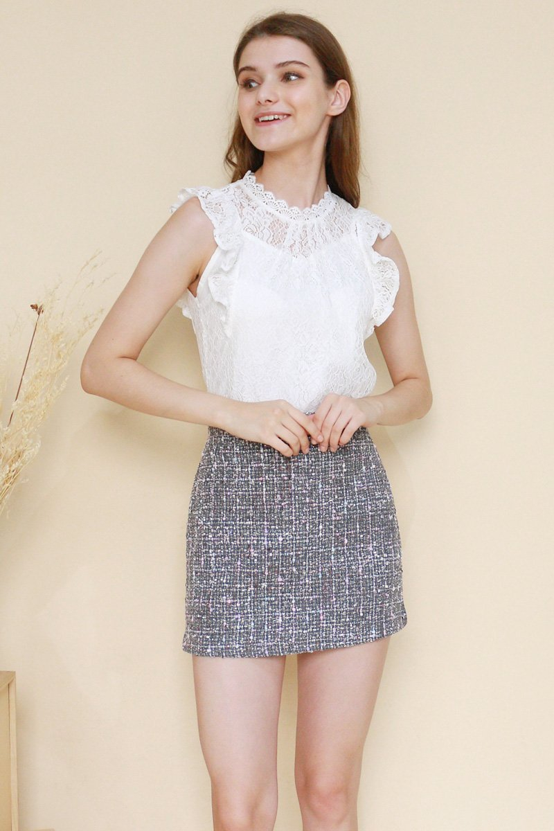 Fenna Lace Mock Neck Top Ivory