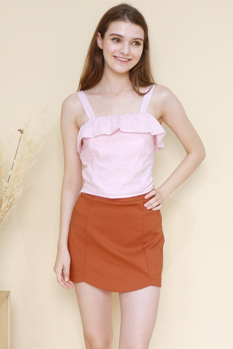 Candela Ruffle Trim Eyelet Top Blush