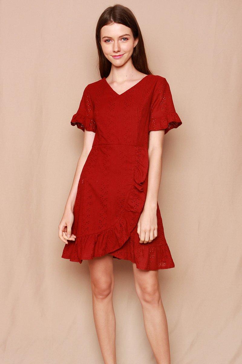 Alethea Ruffle Hem Eyelet Dress Maroon