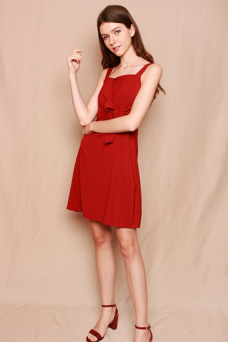 Berte Front-Tie Wrap Dress Wine