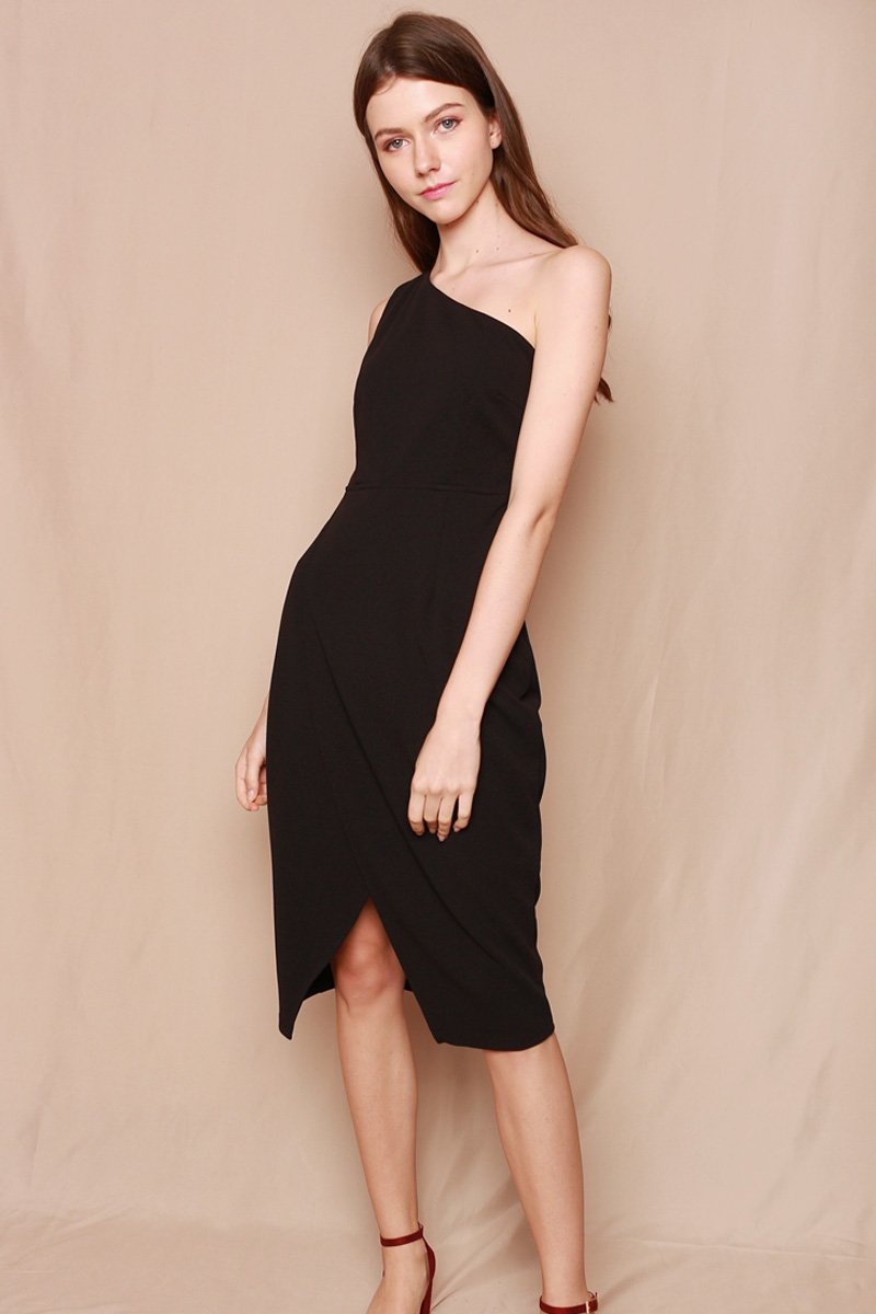 Karsten Wrap Toga Midi Dress Black