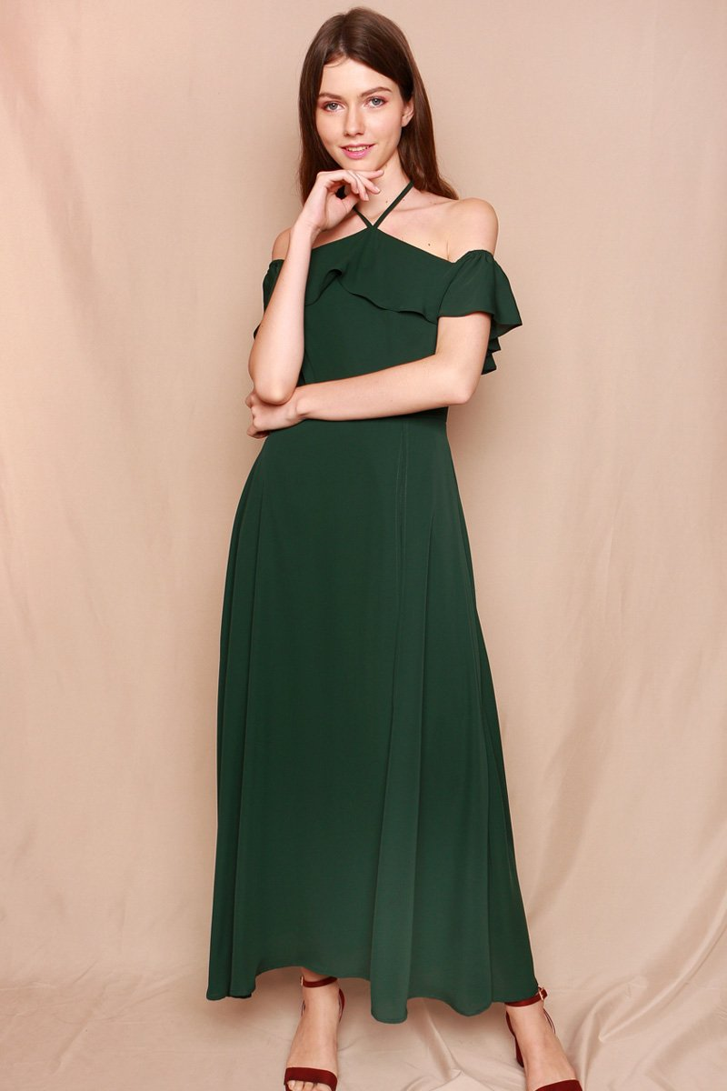 Celena Ruffle Overlay Maxi Dress Forest