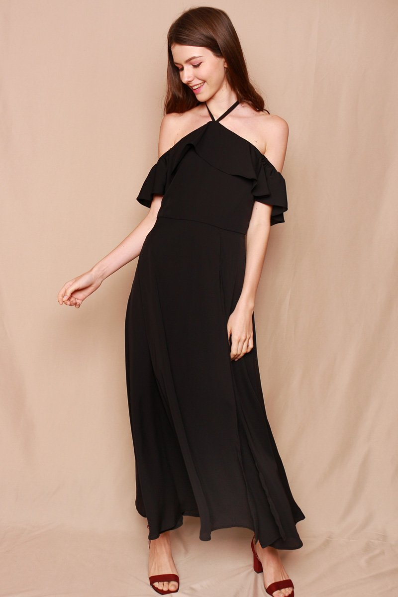Celena Ruffle Overlay Maxi Dress Black
