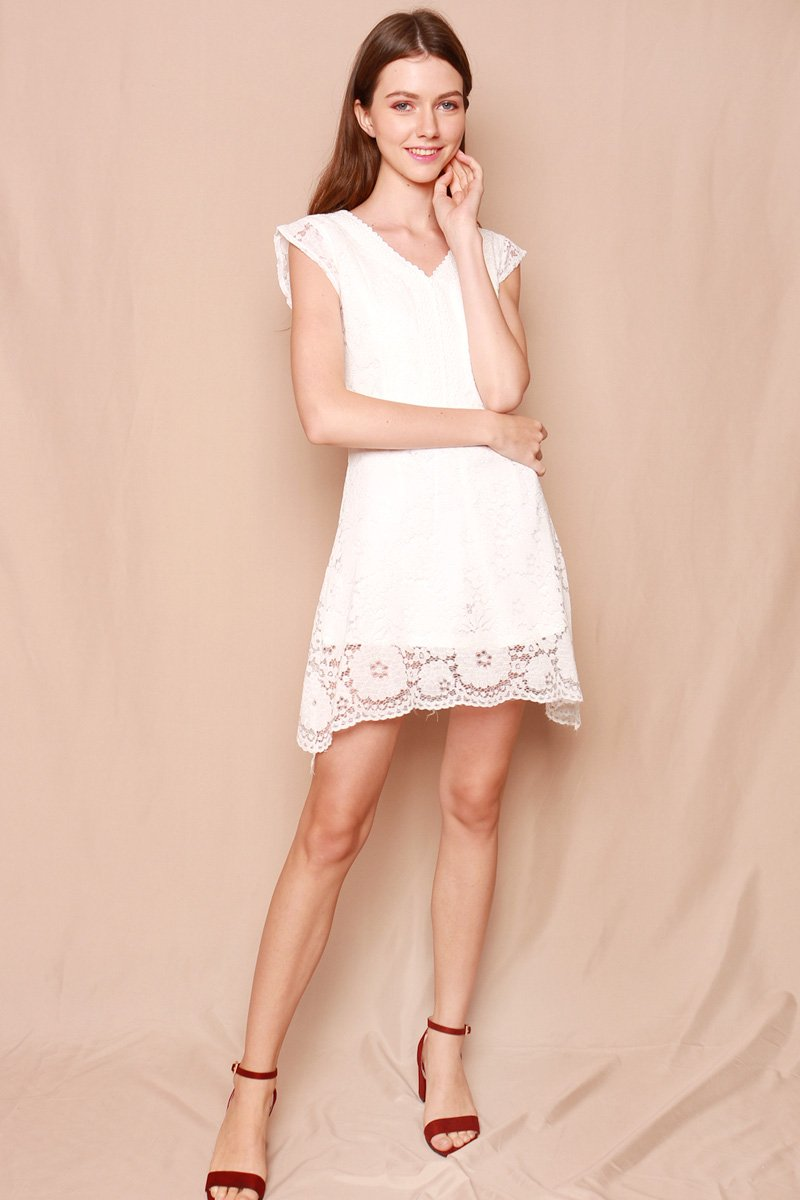 Gavriela Lace Overlay Dress Ivory