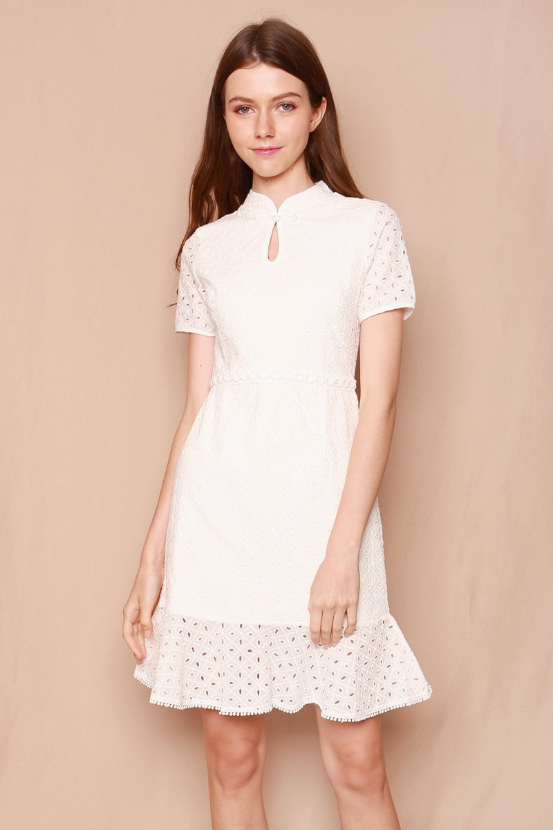 Jemsa Mandarin Collar Eyelet Dress Ivory