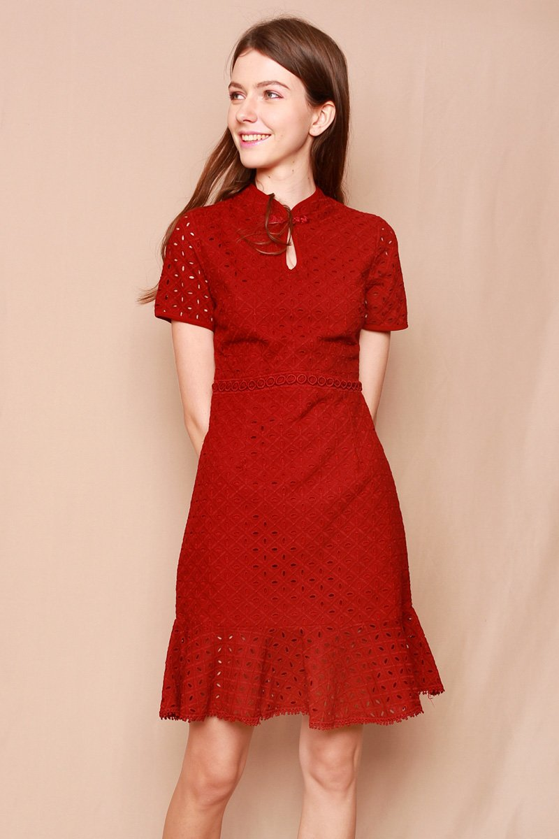 Jemsa Mandarin Collar Eyelet Dress Maroon