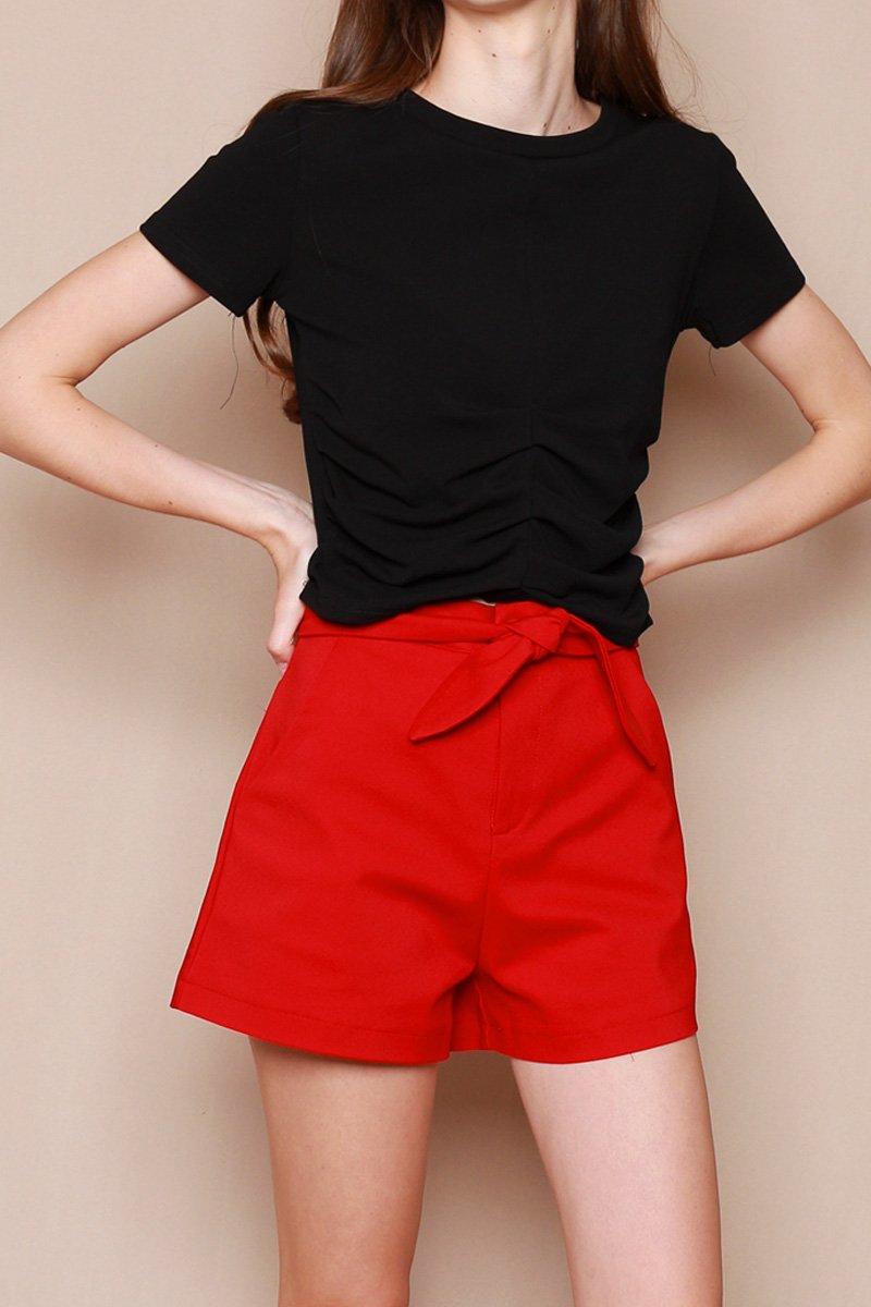 Noelia Tie Front Shorts Scarlet