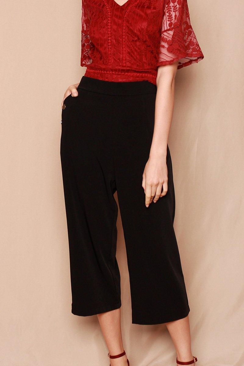 Cinda Studded Culottes Black