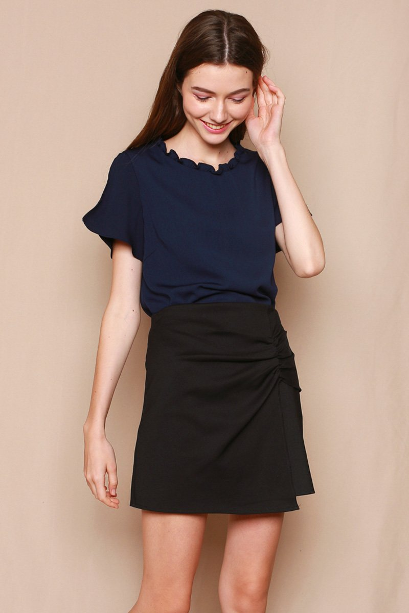 Perlita Overlap Ruched Skirt Black