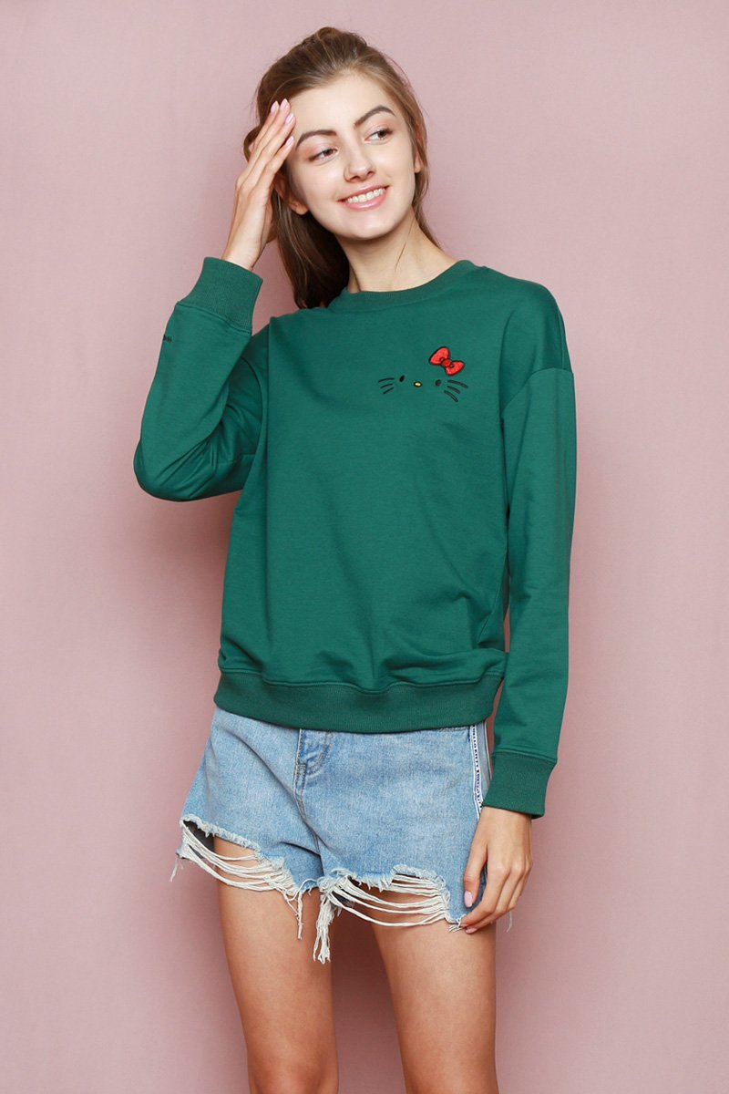 Hello Kitty Embroidered Sweater Forest