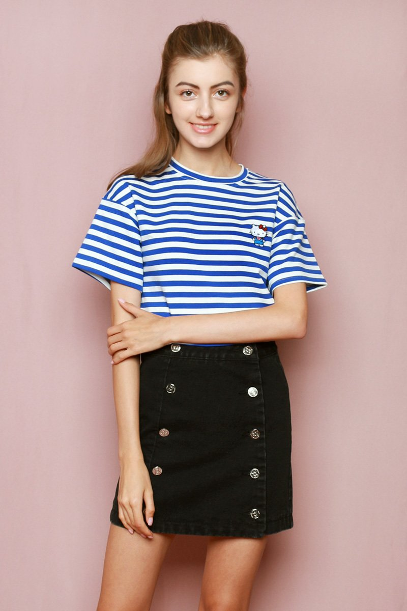 Hello Kitty Embroidered Stripe T-shirt Cobalt