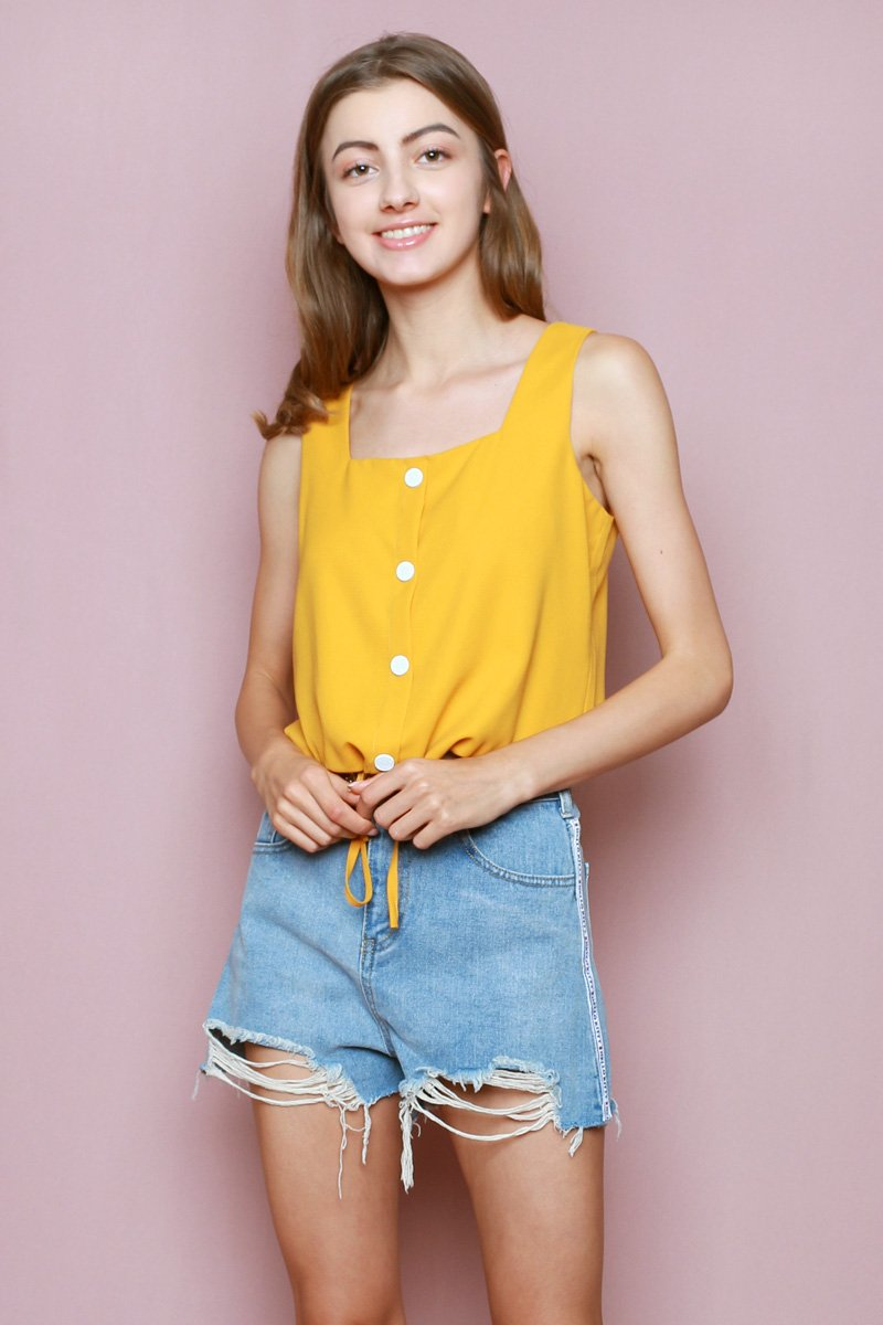 Hello Kitty Drawstring Button Top Mustard