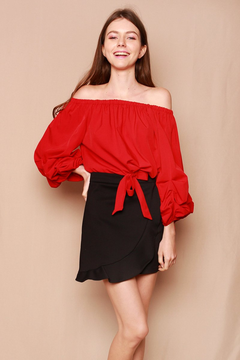 Roan Puffed Sleeves Off-Shoulder Top Wine