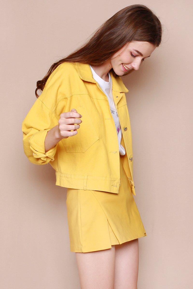 Maikki Button Denim Jacket Mustard