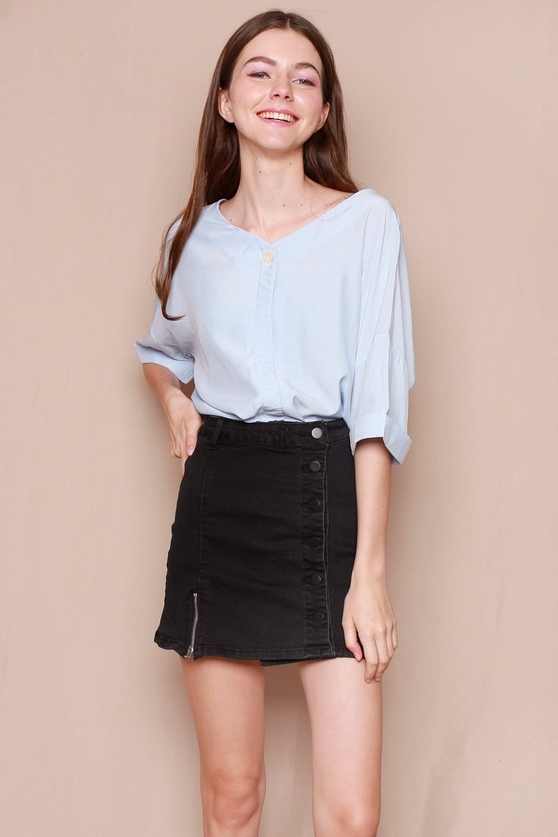 Elara Cross Back Shirt Powder Blue