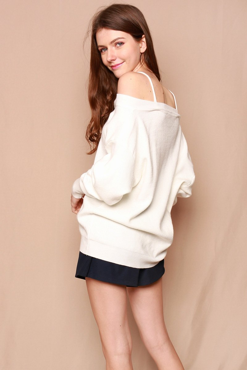 Bryony Shoulder Cut-Out Sweater Ivory