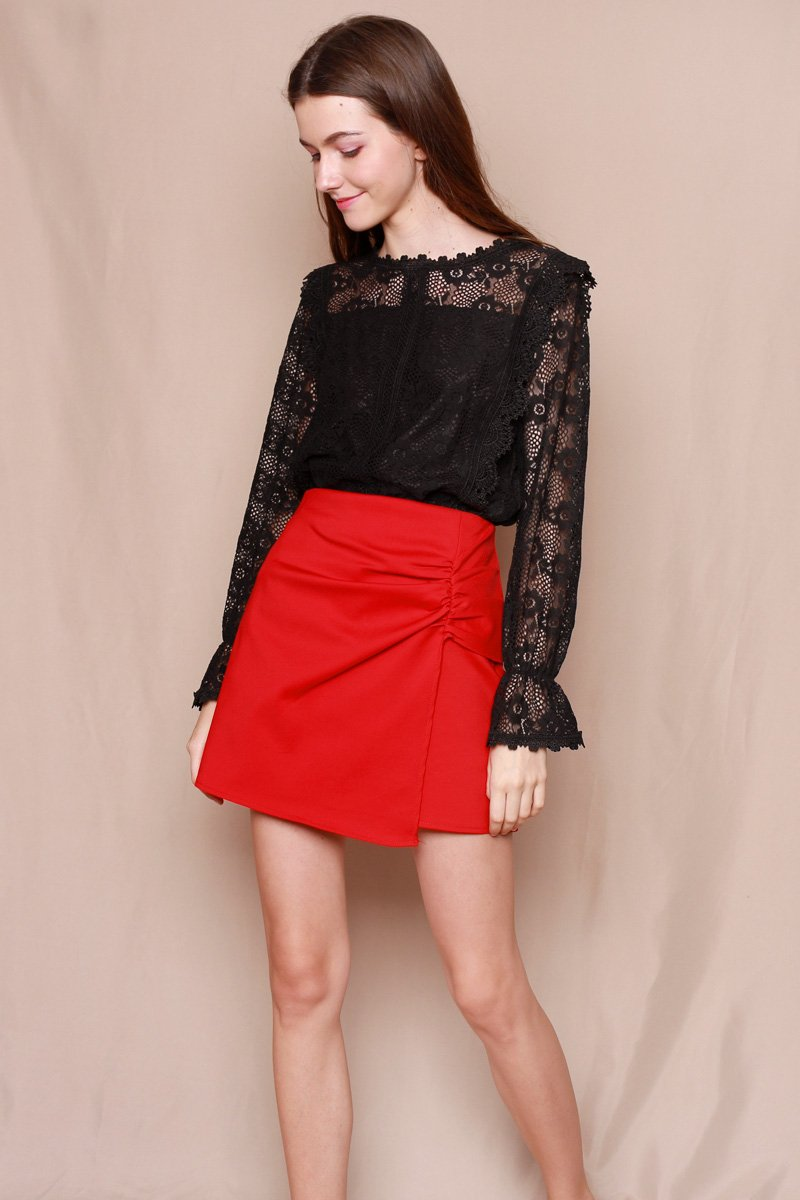 Casina Scallop Hem Lace Top Black