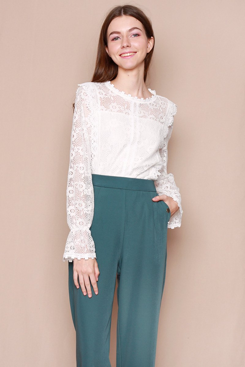 Casina Scallop Hem Lace Top Ivory