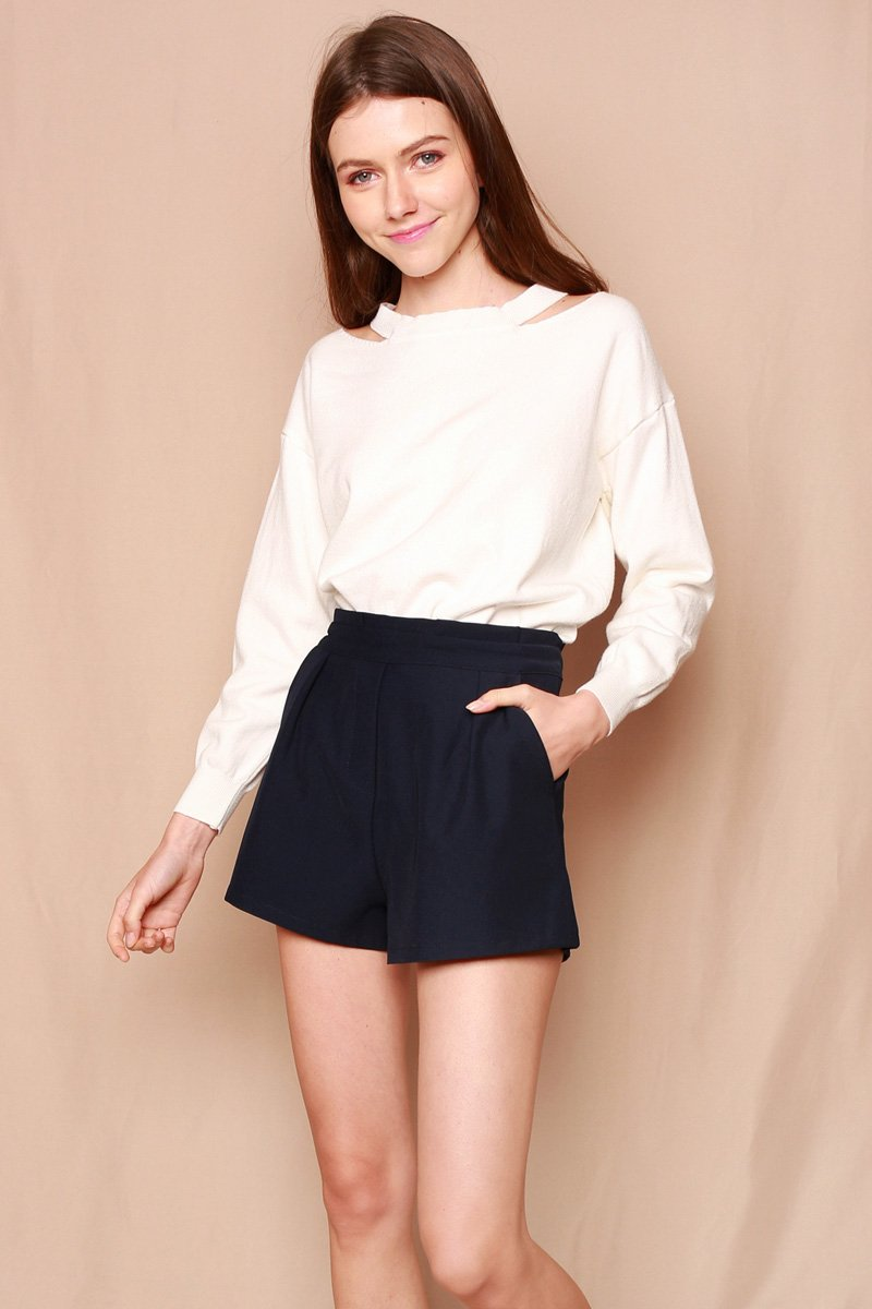 Lucine Knit Lace-Up Pullover Ivory