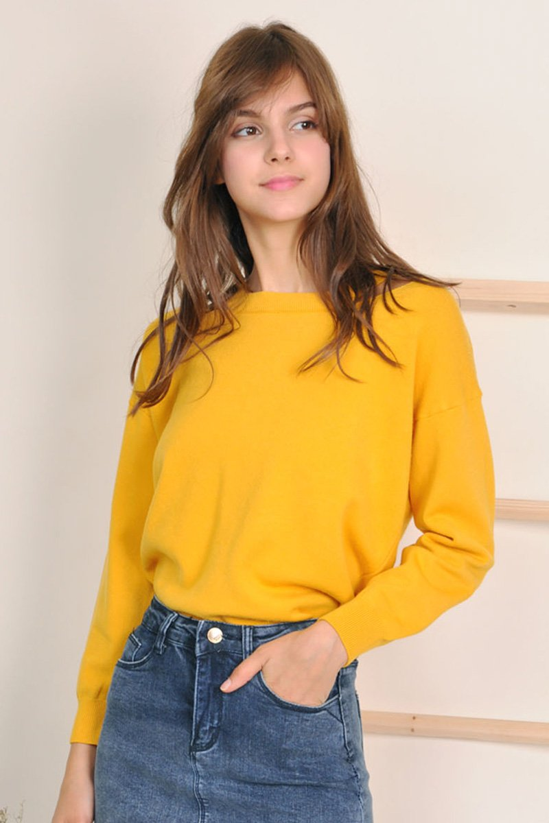 Lucine Knit Lace-Up Pullover Mustard