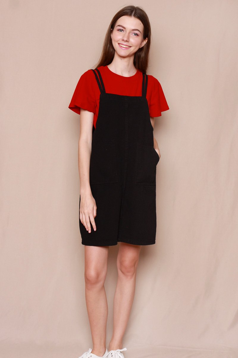 Orley Dual Strap Pinafore Dress Black