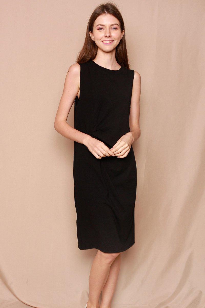 Narqis Twist Front Midi Dress Black