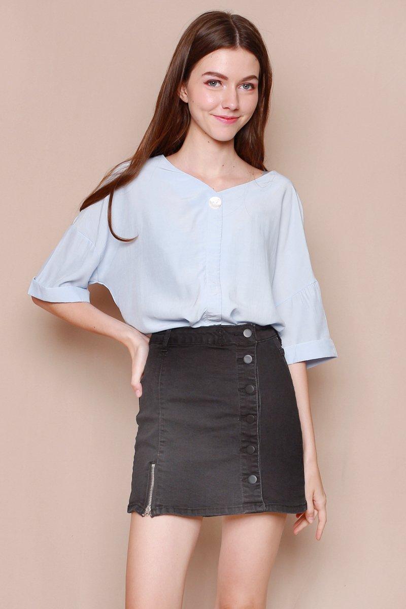 Asta Denim Button Down Overlap Skirt Black