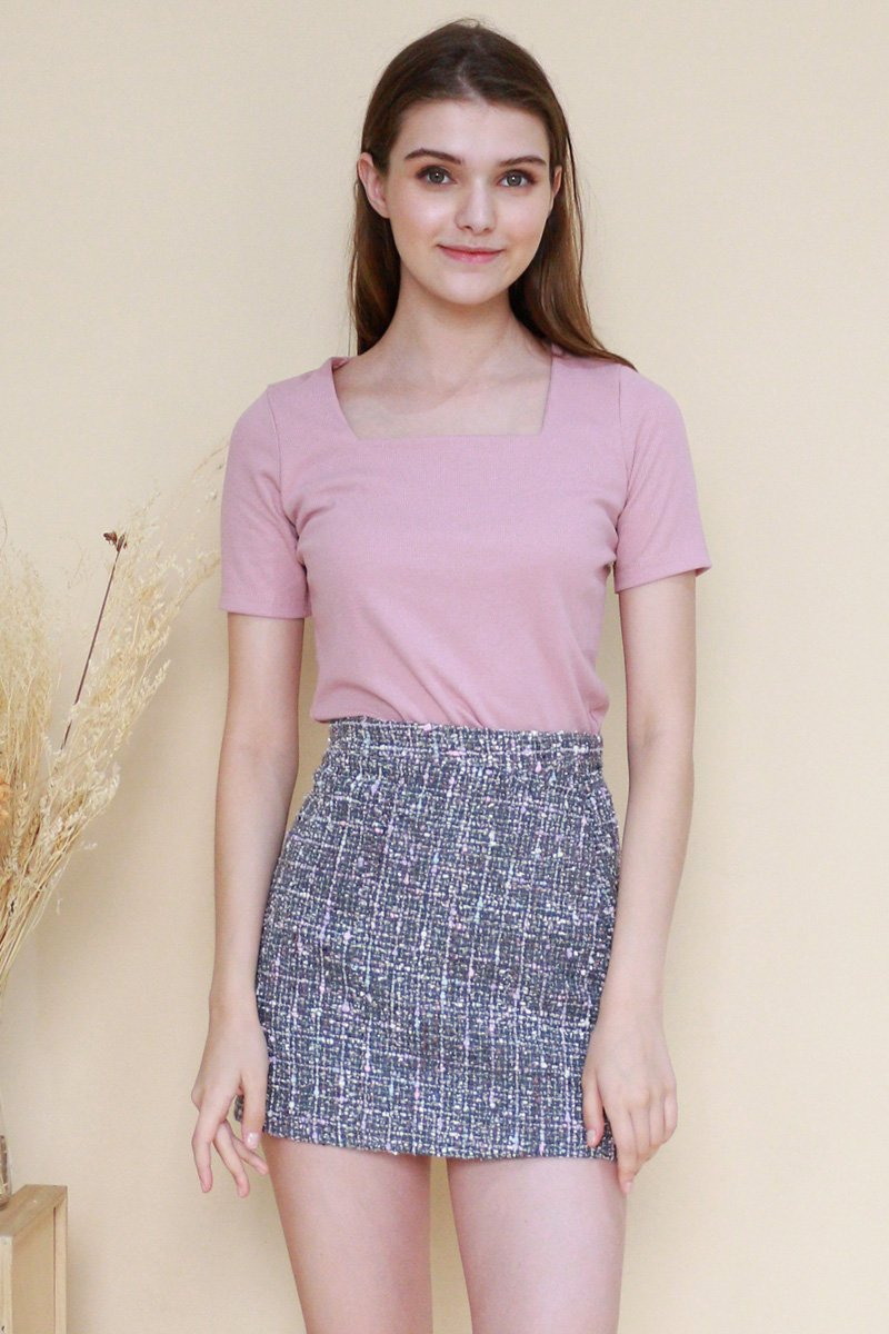 Lyle Square Neck Basic Top Mauve