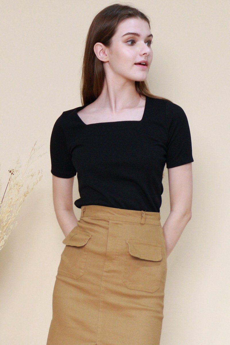 Lyle Square Neck Basic Top Black