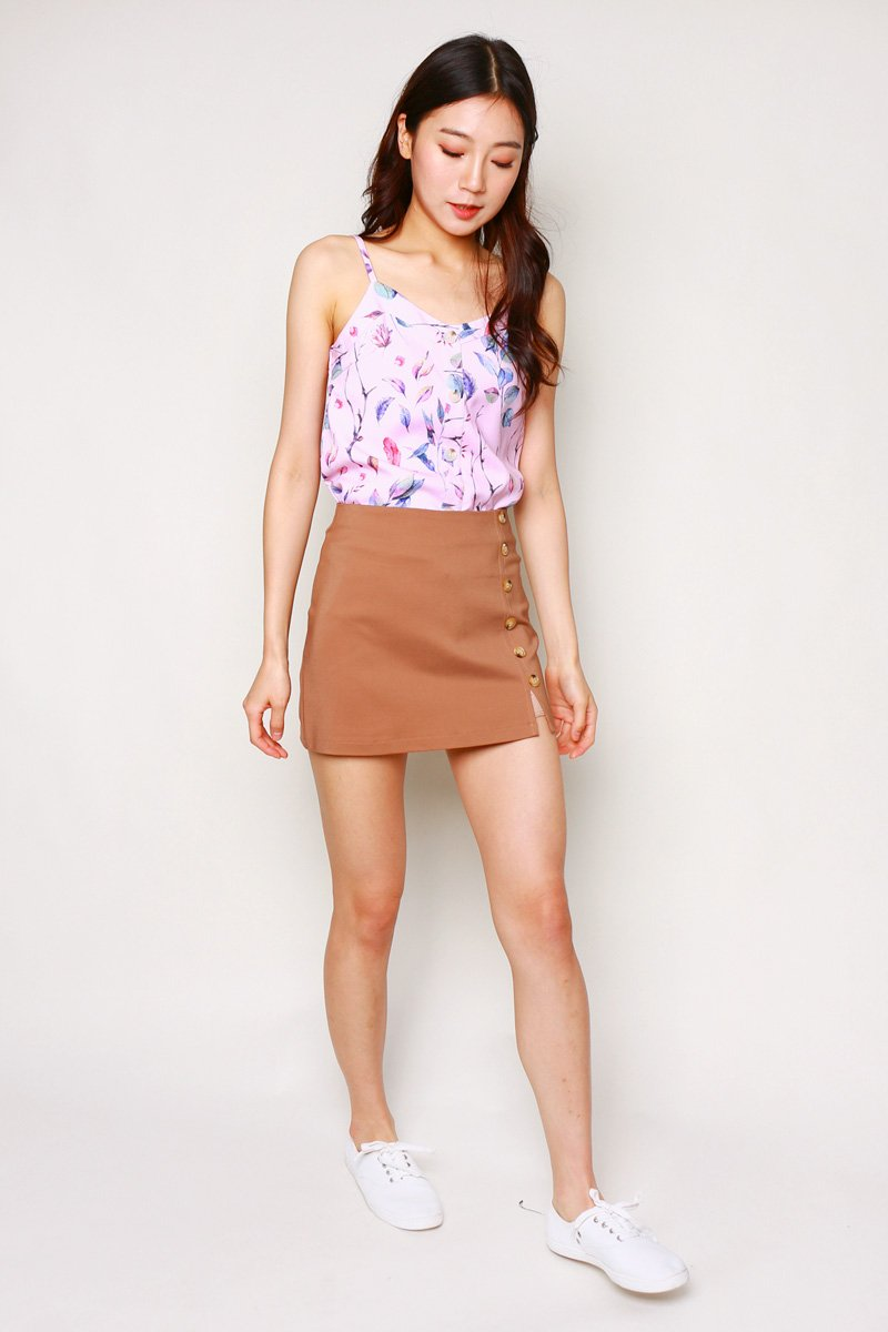 Franca Leaf Print Cami Top Blush