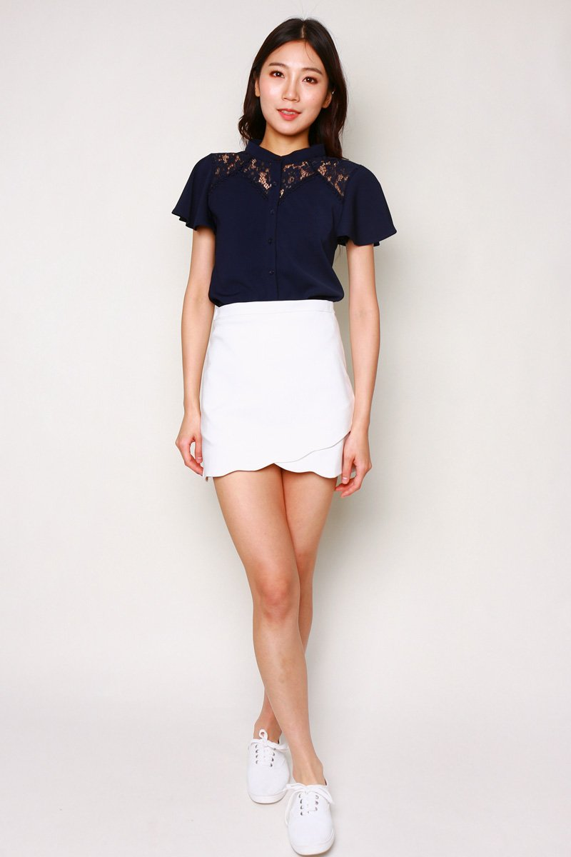 Feodora Lace Panel Top Midnight