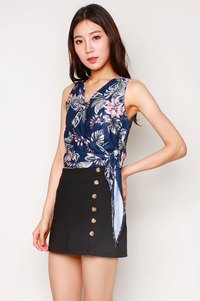 Mareilla Floral Tie-Front Wrap Top Midnight
