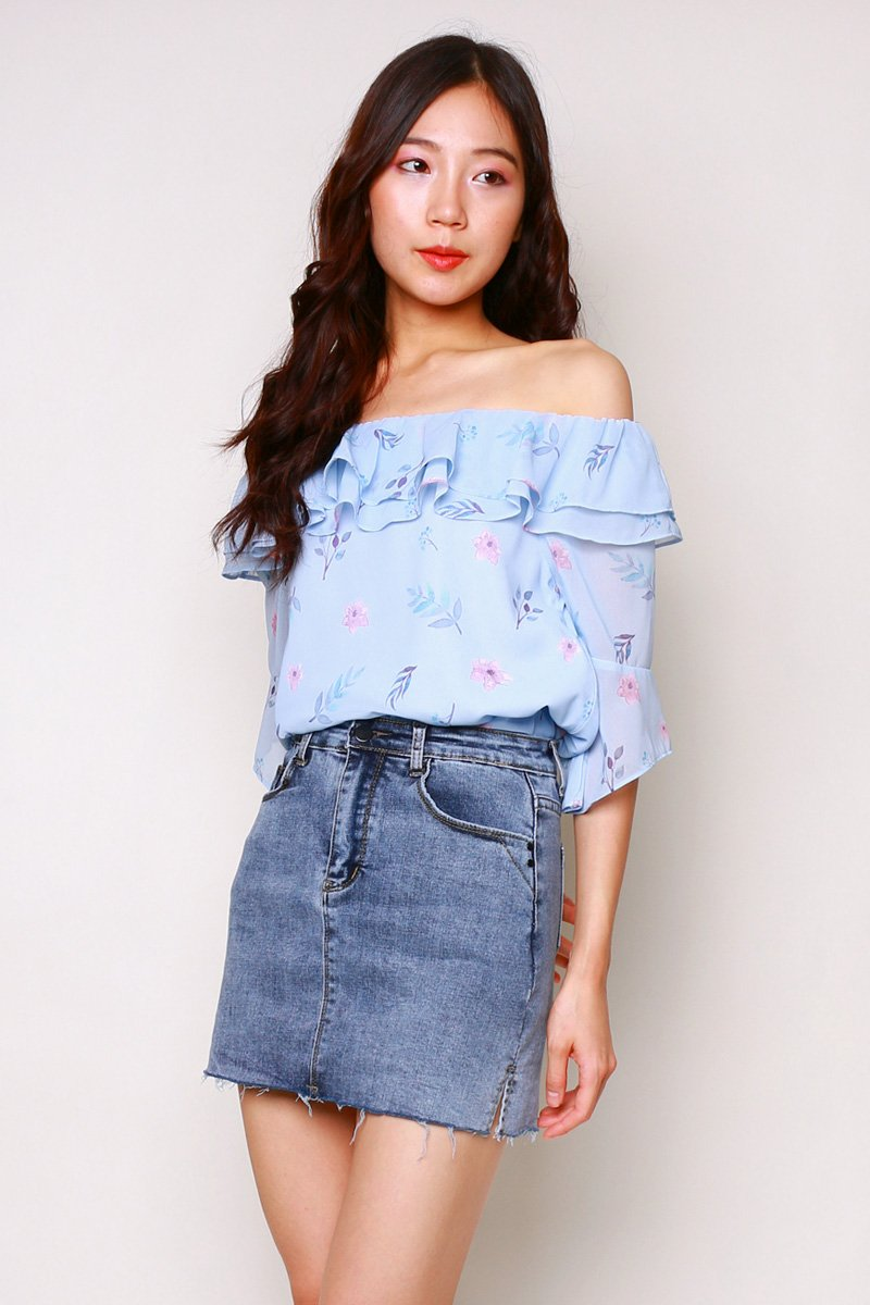 Carolinda Floral Off Shoulder Top Sky
