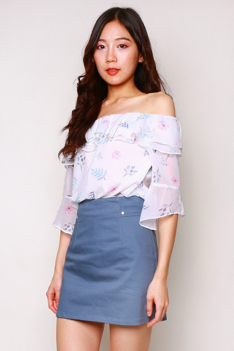 Carolinda Floral Off Shoulder Top Ivory