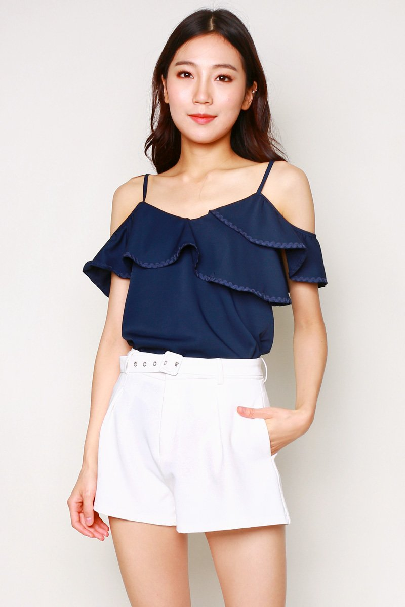 Nicia Textured Contrast Trim Top Midnight