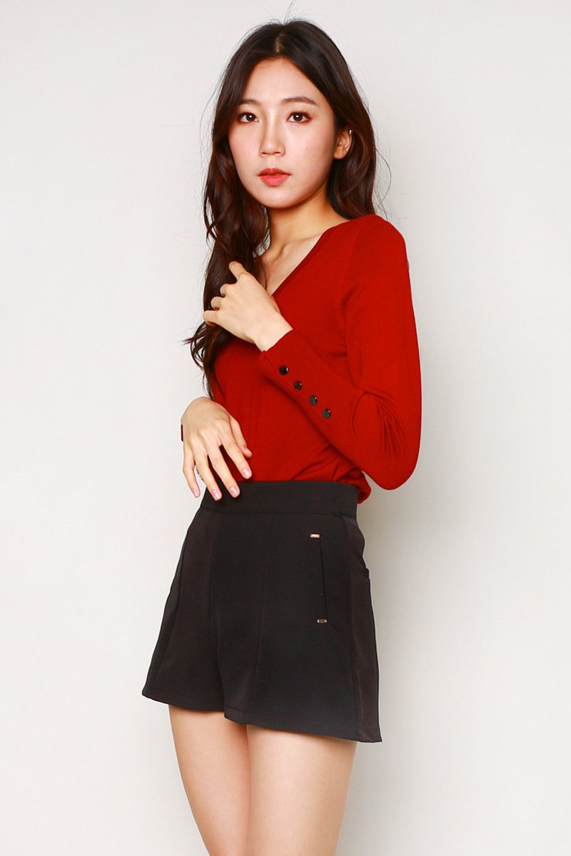 Daria Studded Cuff Knit Sweater Wine