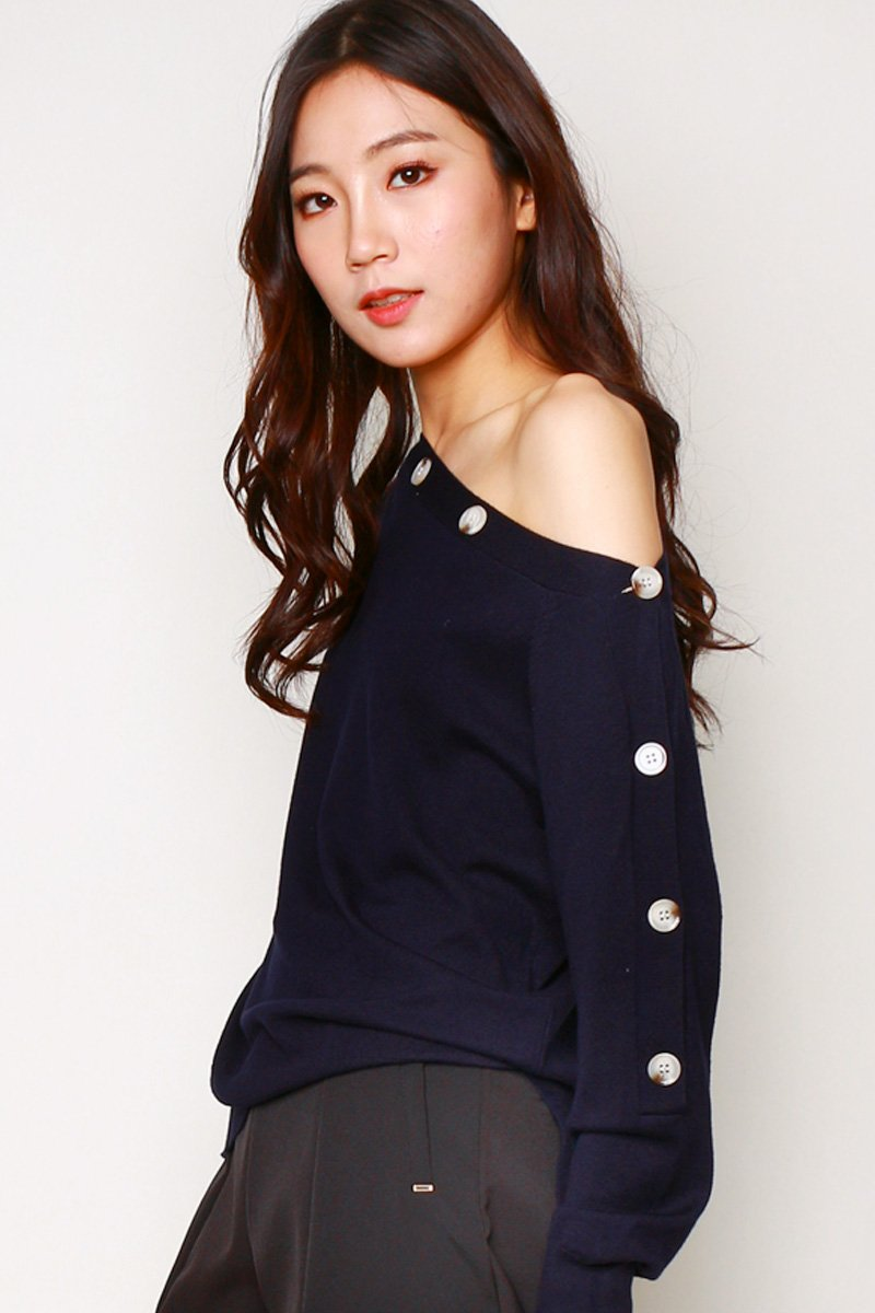 Kyra Wide Neck Knit Sweater Midnight