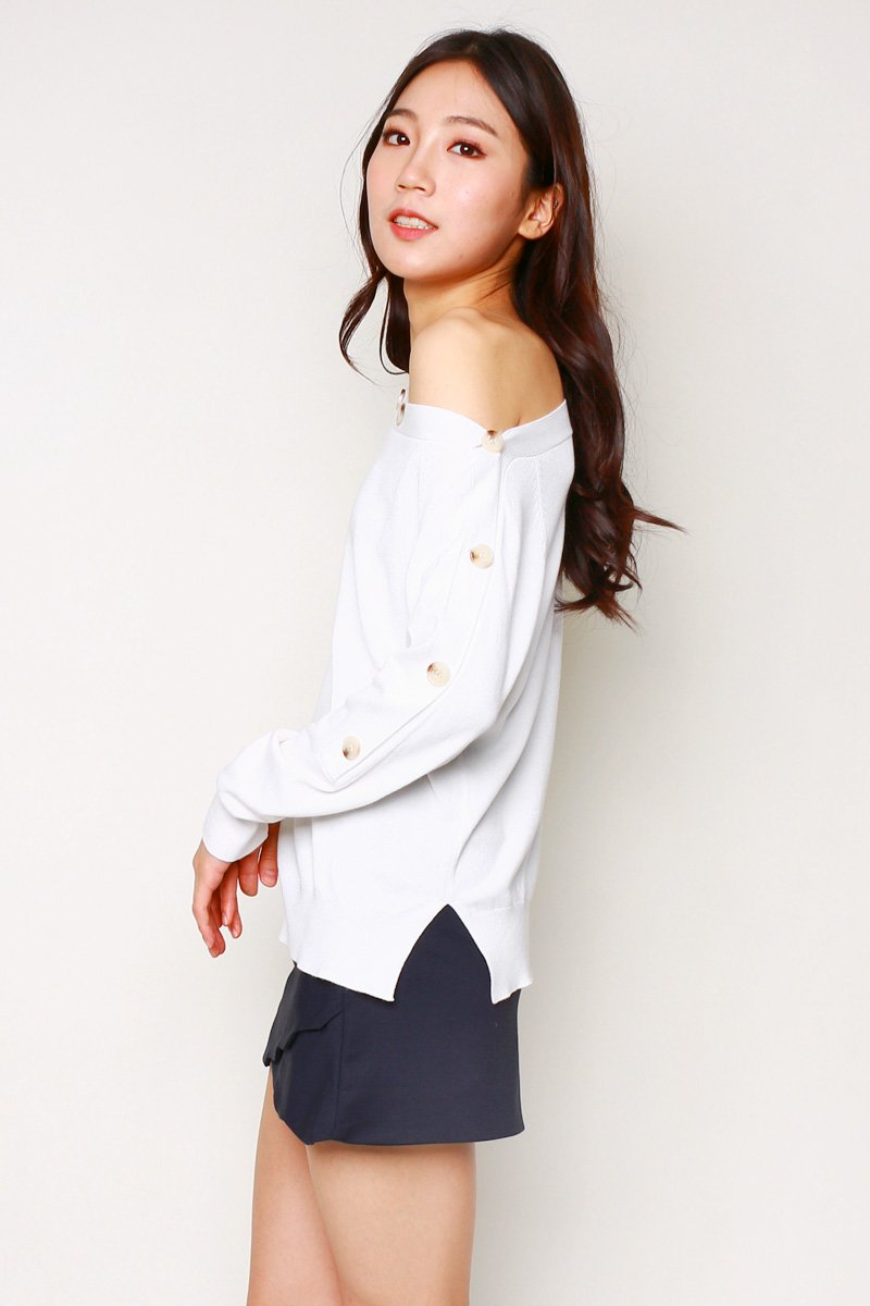 Kyra Wide Neck Knit Sweater Ivory