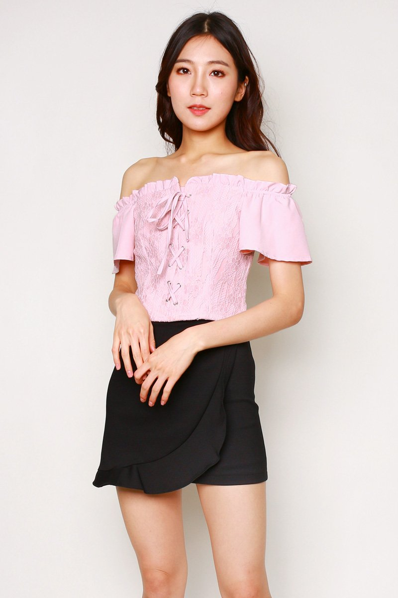 Delyth Lace Up Off Shoulder Top Blush
