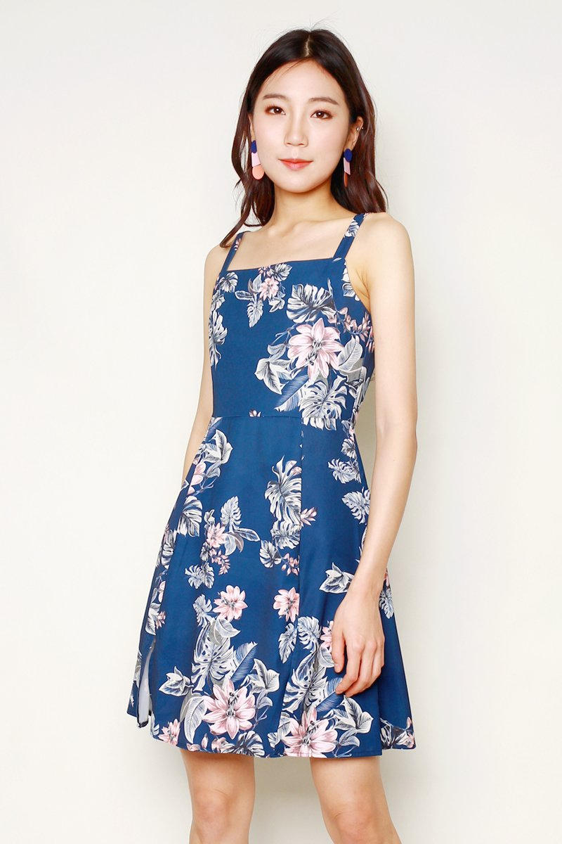 Mareilla Floral Slit Dress Midnight