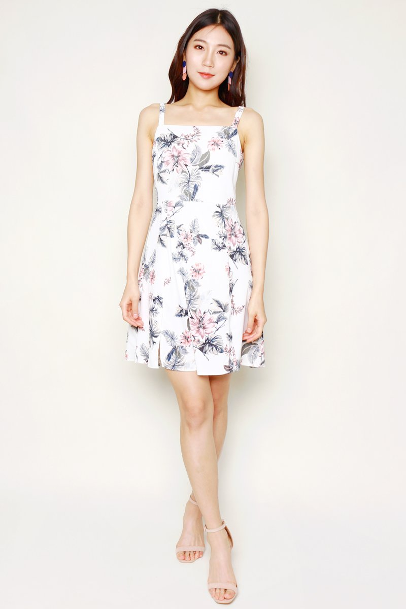 Mareilla Floral Slit Dress Ivory