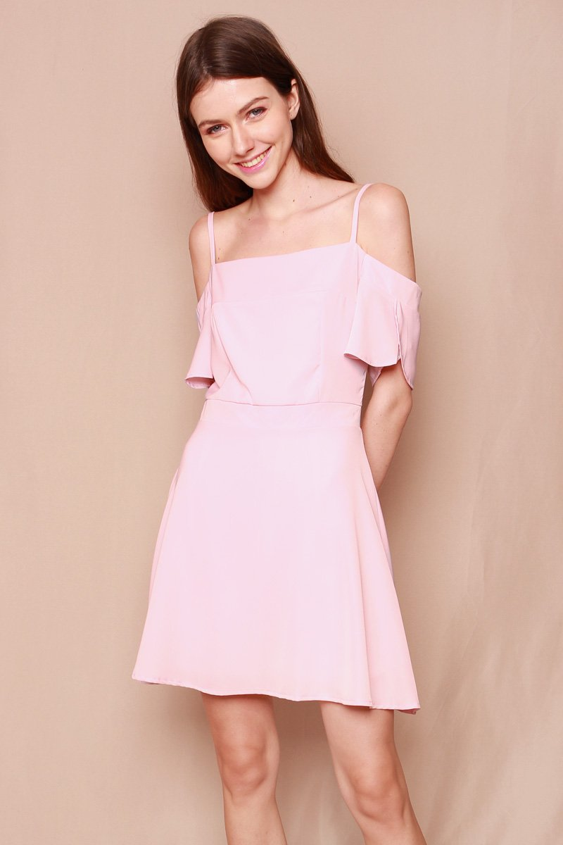 Antinea Cold-Shoulder Swing Dress Blush