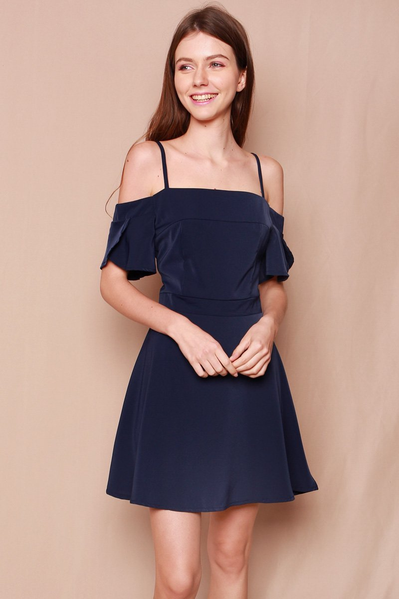 Antinea Cold-Shoulder Swing Dress Midnight