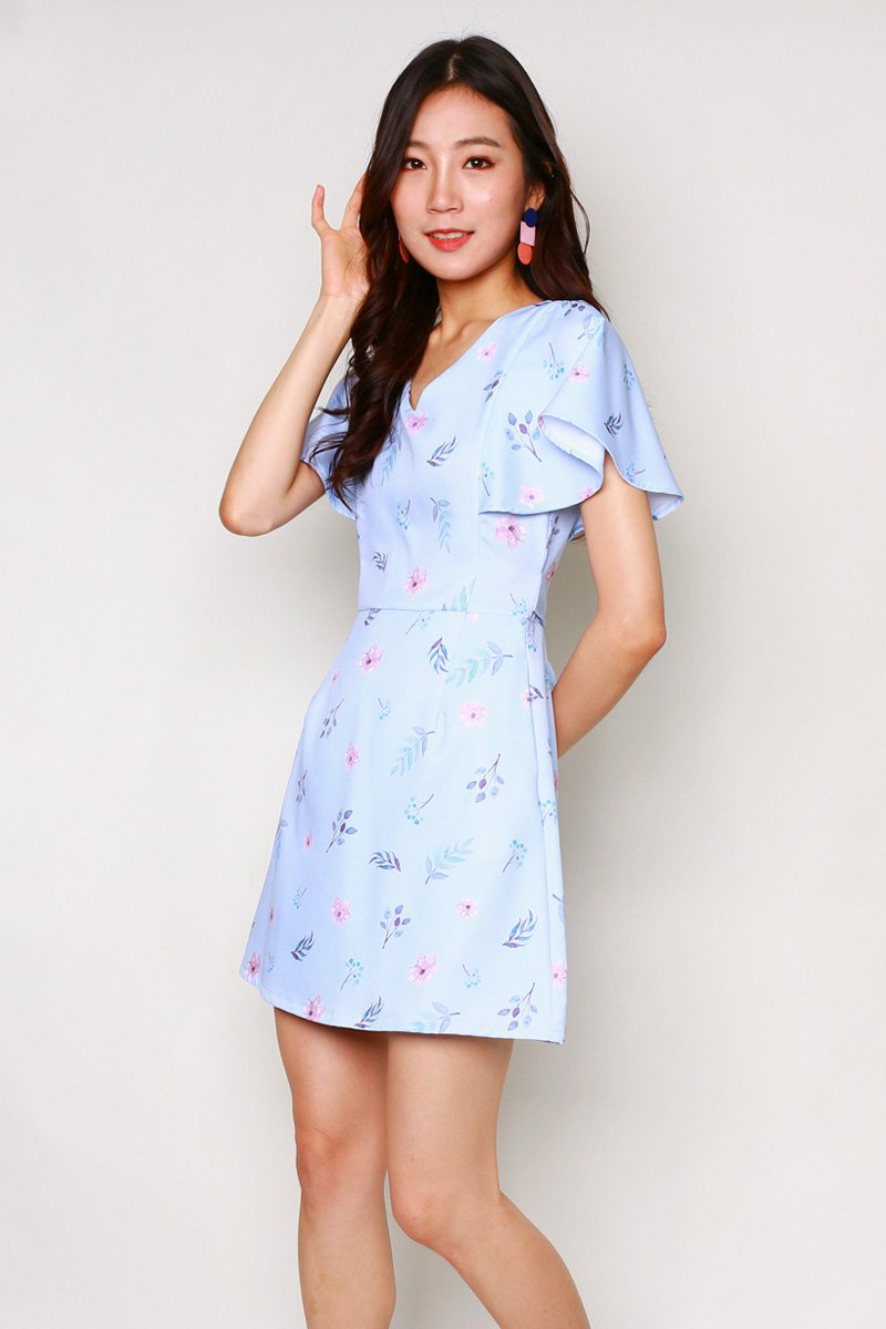 Carolinda Floral Ruffle Sleeve Dress Sky