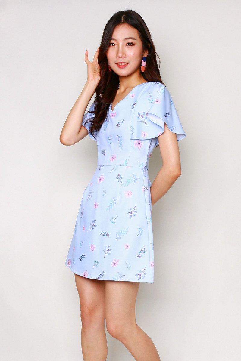 Carolinda Floral Ruffle Sleeve Dress Sky