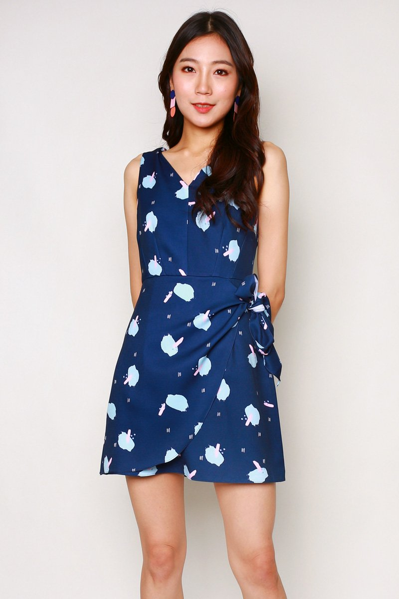 Melena Print Overlap Dress Midnight