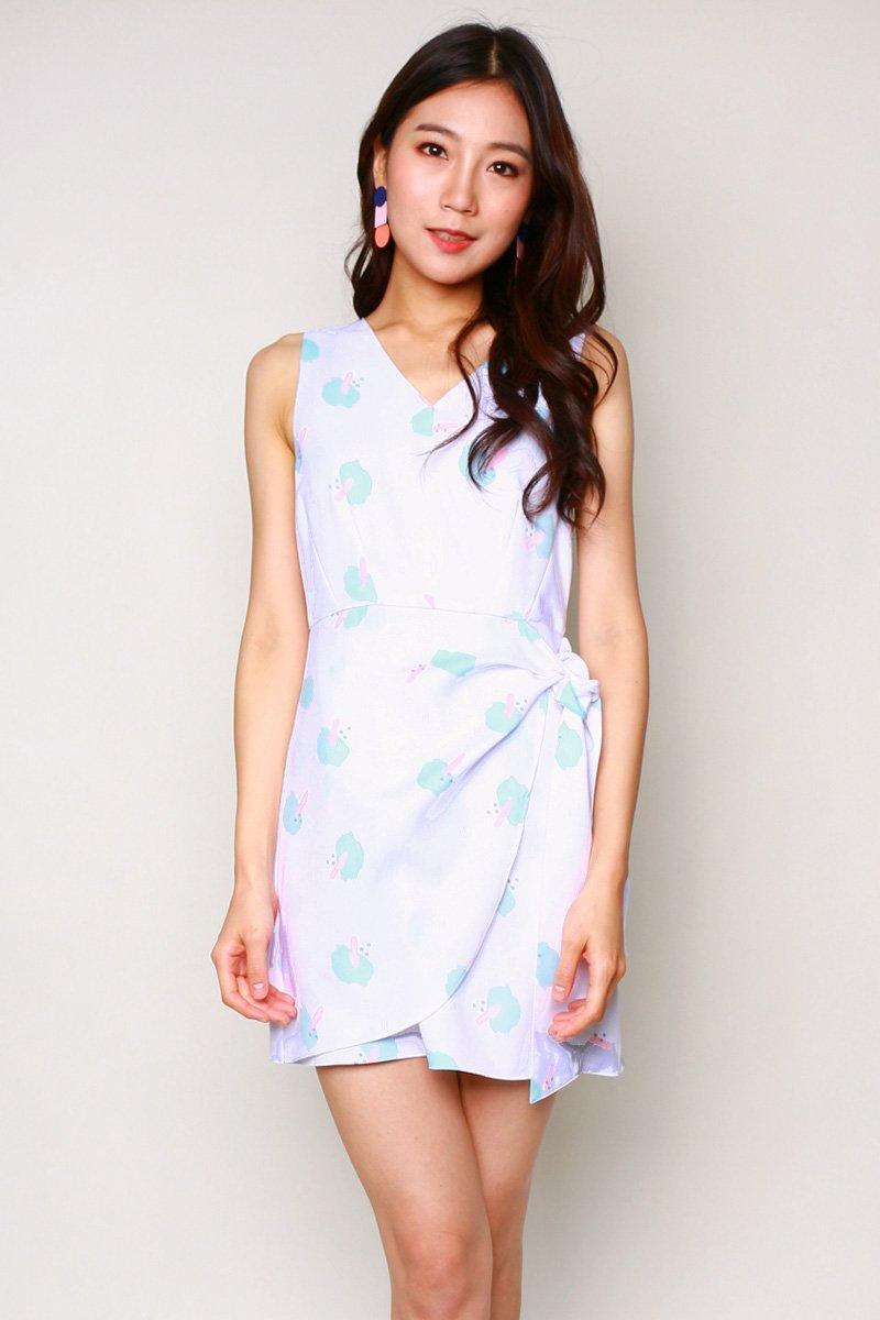 Melena Print Overlap Dress Ivory