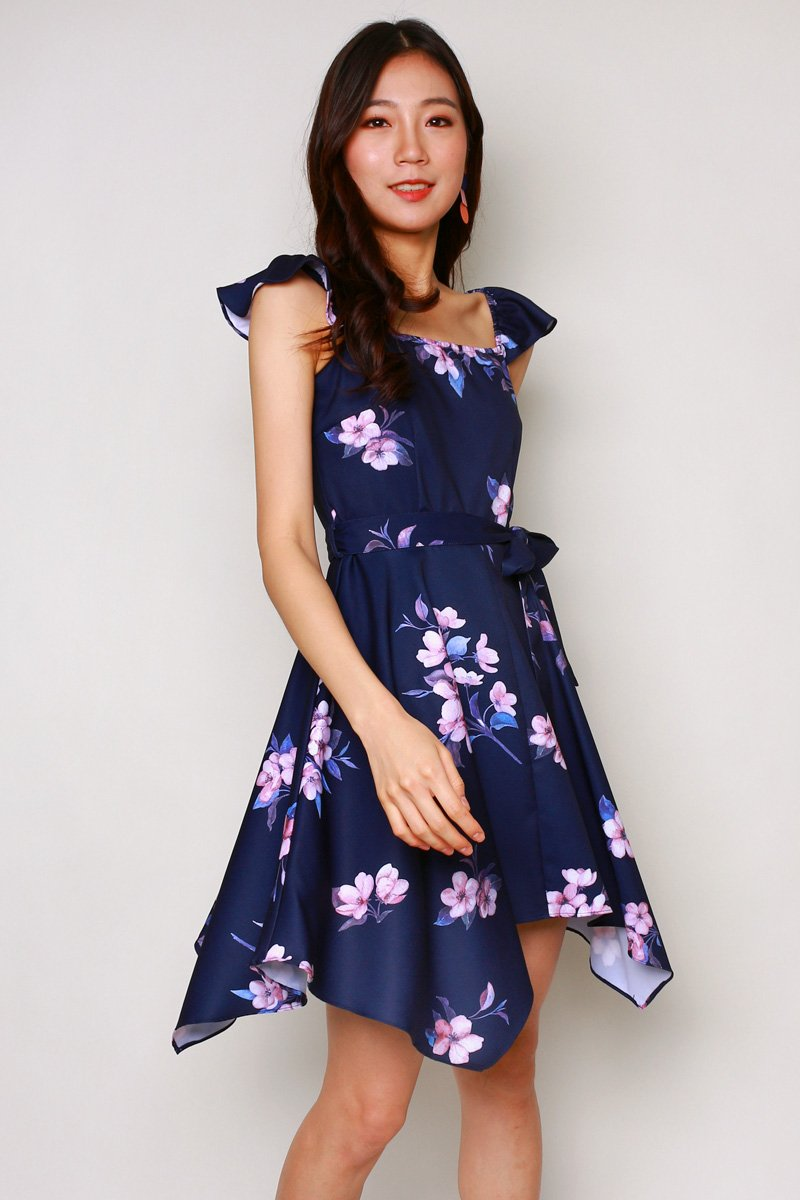 Emilia Floral Ruffle Dress Midnight
